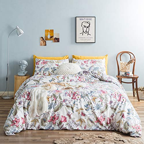 YuHeGuoJi Duvet Cover 3 Piece Set Queen Size 100% Egyptian Cotton Butterfly Pattern Bedding Set 1 Bohemian Flower Print Duvet Cover with Zipper Ties 2 Pillowcases Hotel Quality Ultra Soft Breathable