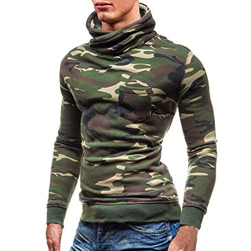 (minRan Mens Casual Slim Camouflage Fit Knitted Thermal Turtleneck Pullover Sweaters Basic Designed)