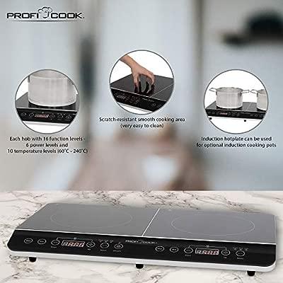 Proficook DKI 1067 501067 Placa de inducción doble portátil, 3500 W, Negro
