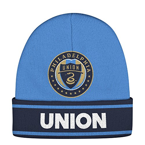 adidas MLS Philadelphia Union Adult Men Jacquard Logo Cuffed Knit, One Size, Blue