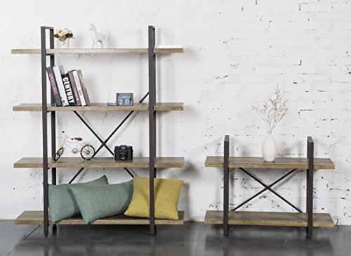 O&K Furniture 2-Tier Bookcase, Vintage Industrial Style Bookshelves, Vintage Green