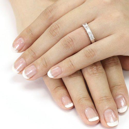 Platinum Plated Sterling Silver Wedding Ring 1.5 Ct Simulated Diamond Princess Cut Five Stone Wedding Band