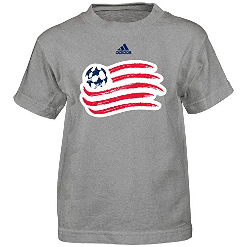 OuterStuff MLS New England Revolution Boys -Primary Logo Short sleeve Tee, Heather Grey, Large - Primary Logo New T-shirt