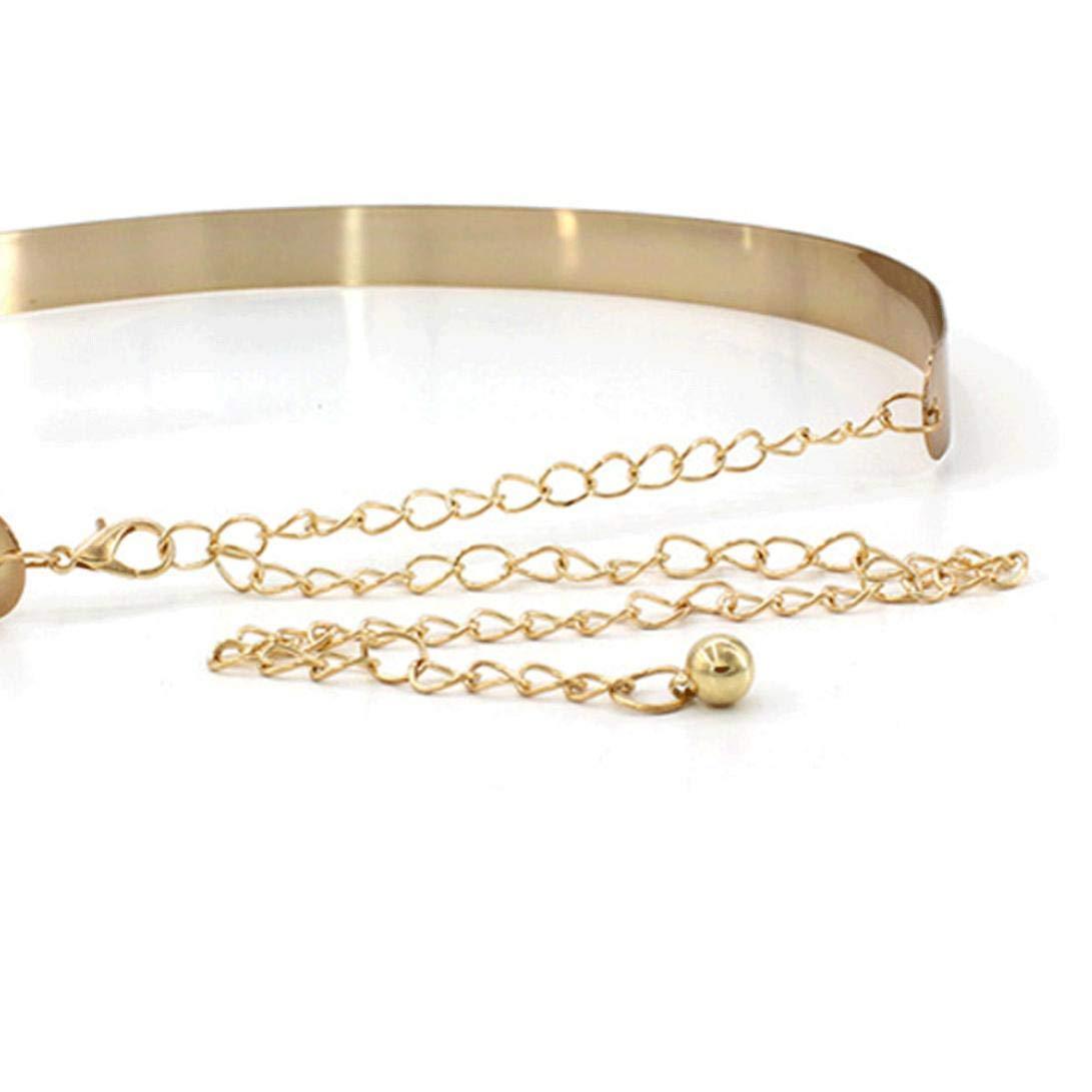 Para Mujer Metal Espejo De Cintur/ón Met/álico Ajustable De La Pretina De La Placa Cinturones Anchos Para Damas