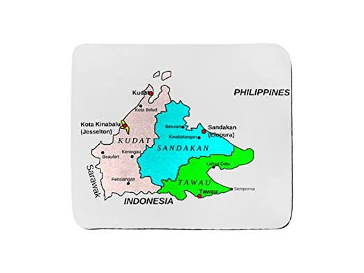 Amazoncom Mouse Pad Rectangle Of Map Of Sabah Malaysia Cell