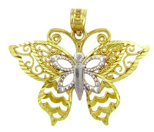 Petits Merveilles D'amour - 10 ct 471/1000 Deux tons d'or Motyl Papillon- Pendentif