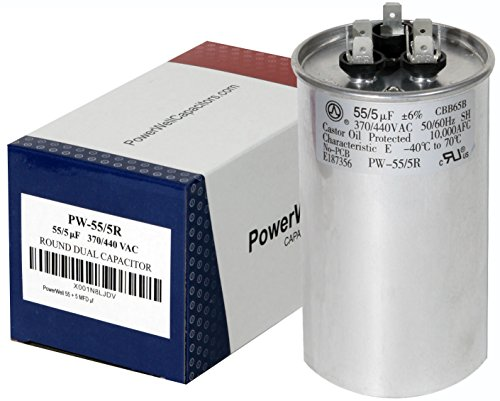 PowerWell 55 + 5 MFD uf Micro Farad 370 or 440 Volt Dual Run Round Capacitor PW-55/5/R for Condenser Straight Cool or Heat Pump air Conditioner 55/5 - Guaranteed to Last 5 Years (Capacitor 440v)