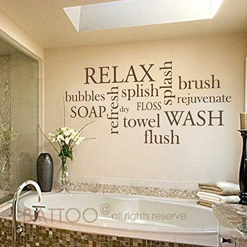 BATTOO Bathroom Wall Decor Bathroom Wall Decal - Bathroom Rules- Wash, Brush, Floss, Flush - Bathroom Sign Bathroom Wall Art Stickers Vinyl Lettering(dark brown, 30