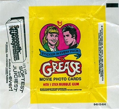 Grease John Travolta Olivia Newton John Wrapper 3x3 (1978 Topps) used w folds and holes