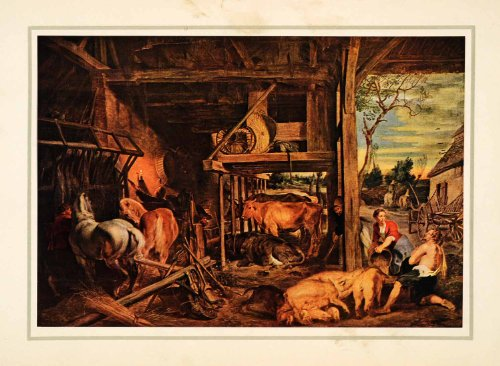 1939 Tipped-In Print Peter Paul Rubens Prodigal Son Farm Animals Horse Cow Pig - Orig. Tipped-in Print from PeriodPaper LLC-Collectible Original Print Archive