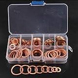 5 8 copper washer - TOLOVI 120PCS 8 Sizes Solid Copper Washers Sump Plug Assortment Washer Set Plastic Box Professional Hardware Accessories