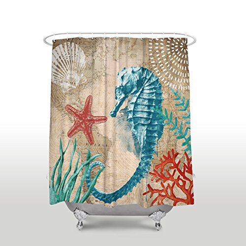 Anzona Shower Curtains Ocean Seahorse Starfish Marine Life Theme Retro Map Design Curtain 72