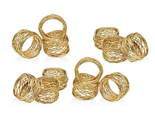 Golden Round Mesh Napkin Rings- Set of 12 for Weddings Dinner Parties or Every Day Use ()