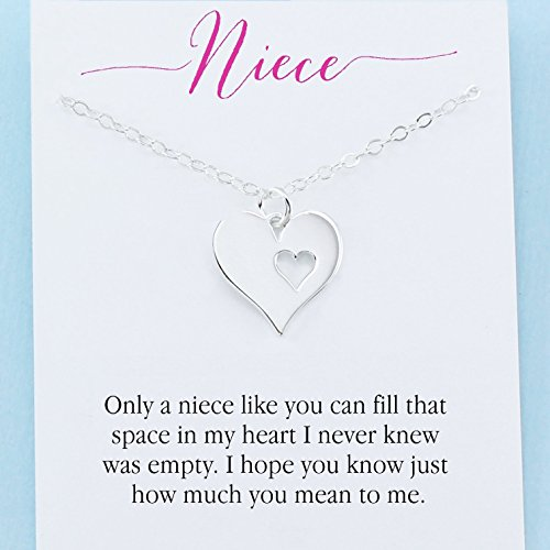 Personalized Niece Gift Sterling Silver Heart Charm Necklace Infinite Love From Aunt or Uncle (Sterling Heart Charm Silver Personalized)