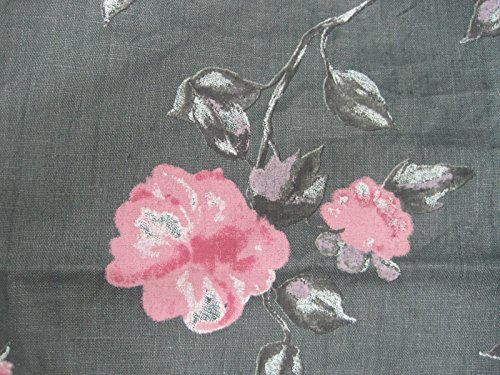 100% Linen Fabric By the Yard Gray with Pink Flowers Print (Linen Fabrics 100)