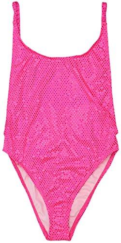 Tankini Pink Dot (ToBeInStyle Women's High Cut Vintage Swimsuit - Shiny Pink Dot - Medium)