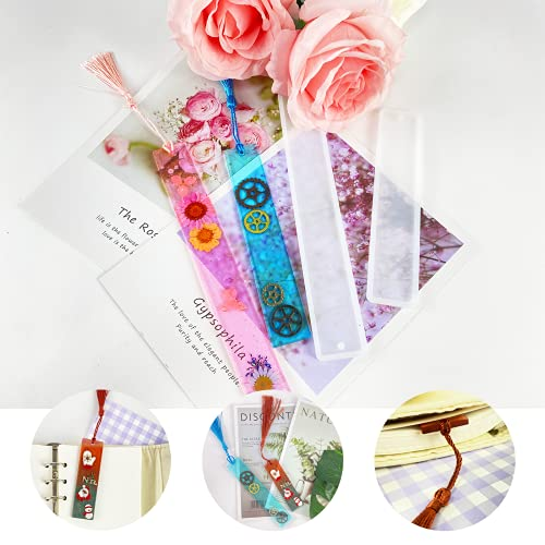 MUXGOA 9 Pcs Resin Bookmark Molds,DIY Bookmarks with 27 Pcs Handmade Silk Bookmark Tassels for Key Chain DIY Art Craft
