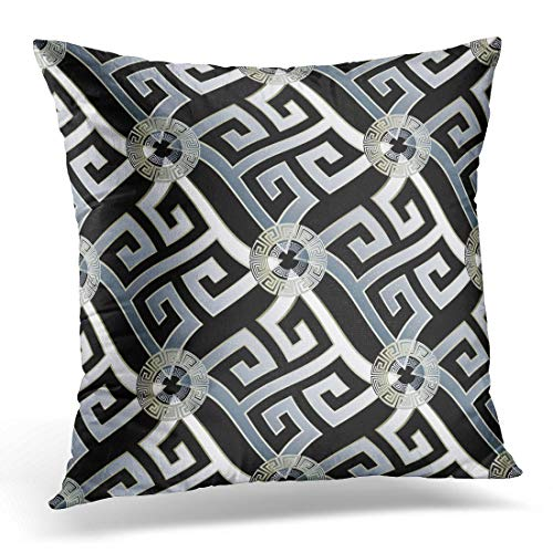 Throw Pillow Cover Modern Geometric Black White 3D Wavy Greek Key Circles Geometrical Shapes Figures Vintage Decorative Pillow Case Home Decor Square 18x18 inches Pillowcase