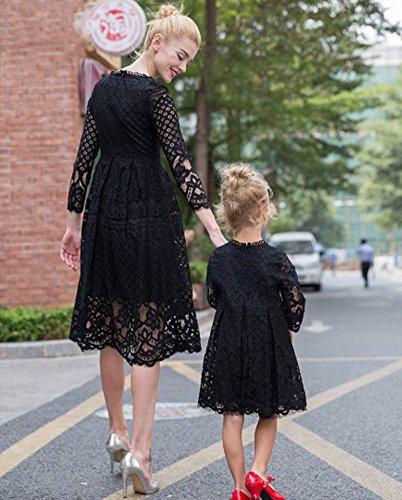 Figlia Dress Donne Famiglia Casual Vestire Pizzo Collo Sottili bambino Nero Gonne E Minetom Genitore Lunga Estate Madre Manica Abito Mini Rotonda qw8Ht