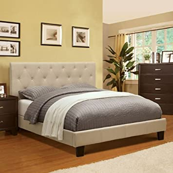 corbin modern style ivy finish eastern king size flax fabric bed - Eastern King Bed Frame