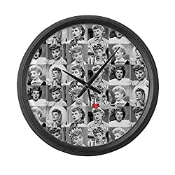CafePress I Love Lucy Face Collage Large 17 Round Wall Clock, Unique Decorative Clock