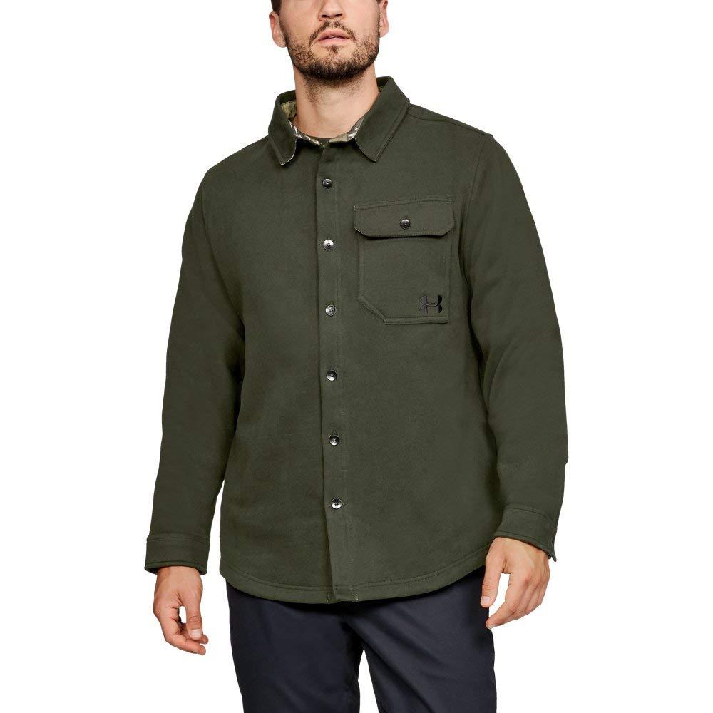 Under Armour Men's Buckshot Fleece Shirt, Artillery Green (357)/Black, Large by Under Armour