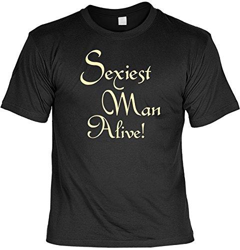 T-Shirt mit Urkunde - Sexiest Man Alive - lustiges Sprüche Shirt als Geschenk für Leute mit Humor - NEU mit gratis Zertifikat!