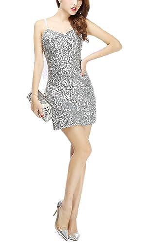 Whitewed Short Womens Sparkly Bandeau Sequin Paillettes Bodycon Vegas Dresses
