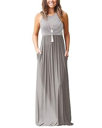 Tomwell Damen Gestreift Ärmellos Maxi Kleid Westekleid Sommerkleider Elegant  Falten Lose Strandkleid Party Kleid mit Tasche Grau DE 46  Amazon.de  ... 222f84bd24
