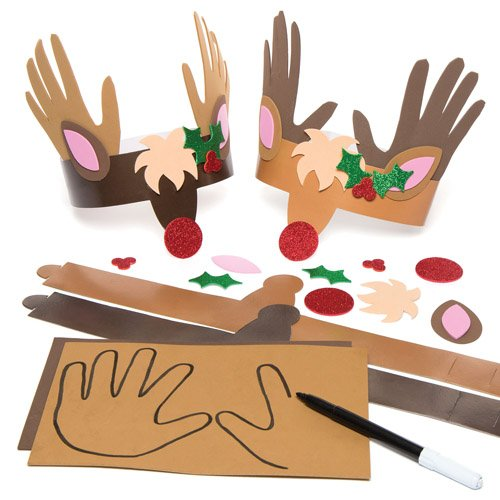 Reindeer Handprint Crown Kits for Children to Make Decorate and Wear - Christmas Party Dressing Up Accessory (Pack of -