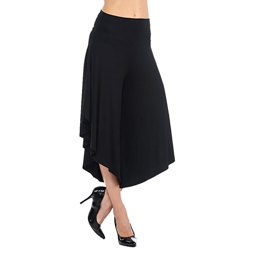 vermers Clearance Deals Womens Trousers Women's Layered Wide Leg Flowy Pants High Waist Wide Leg Capri Pants(M, Black)