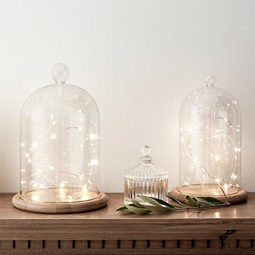 2er Set Deko Glasglocke mit LED Mikro Lichterkette Lights4fun