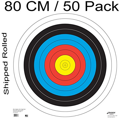 Archery 40cm & 80cm Targets by Longbow (50 pack, 80cm Archery Paper) ()