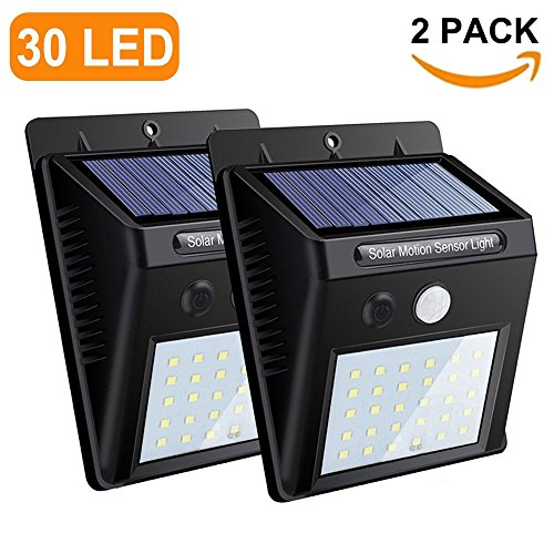 30 Outdoor Wall (Bright Solar Lights Outdoor 30 LED Wall light with Motion Sensor,Wireless Waterproof Security Light for Patio Yard Deck Garden Driveway(2 Pack))