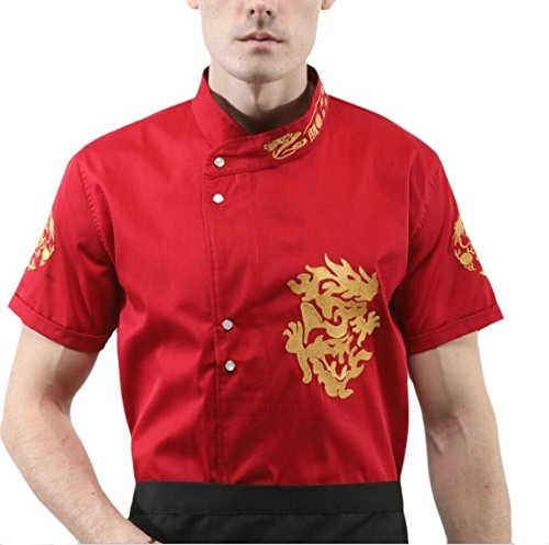 ainr Men Classic Chinese Style Embroidered Short Sleeve Banded Collar Breathable Chef Coat Red (Classic Embroidered Coat)