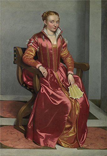 Oil Painting 'Giovanni Battista Moroni Portrait Of A Lady (La Dama In Rosso)', 24 x 35 inch / 61 x 89 cm , on High Definition HD canvas prints is for Gifts And Bar, Game Room And Kitchen Decoration