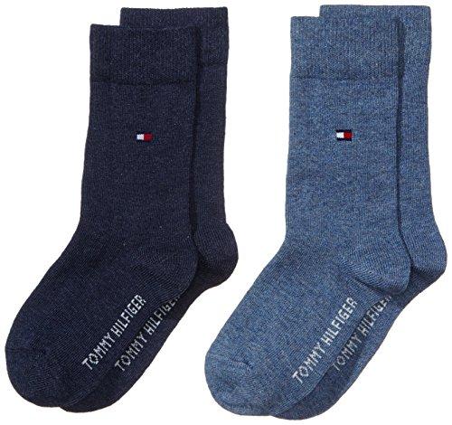 Tommy Hilfiger Jungen Socken TH CHILDREN BASIC, 2er Pack, Einfarbig, Gr. 39 (Herstellergröße: 39-42), Blau (jeans 356)