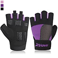 Trideer Women's Ultralight Weight Lifting Gloves, Gym Glove For Powerlifting, Cross Training, Bodybuilding, Breathable Lycra & Anti-slip Gel Pad - Available in Black, Pink, Purple (Pair)