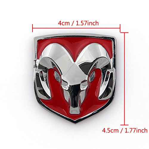 Areyourshop Red Head Grill Tailgate Emblem Badge Sticker Decal Chromed Metal For Dodge Ram 4x4 5 Cm 1 57x1 77 Inch Red