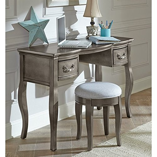 Hillsdale Furniture Kensington Two Drawer Writing Desk, Antique Silver by Hillsdale Furniture