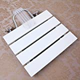 TSAR003 Teak Bathroom Folding Shower Seat Wall Mounted,15' 12', 350 Lb Load , White