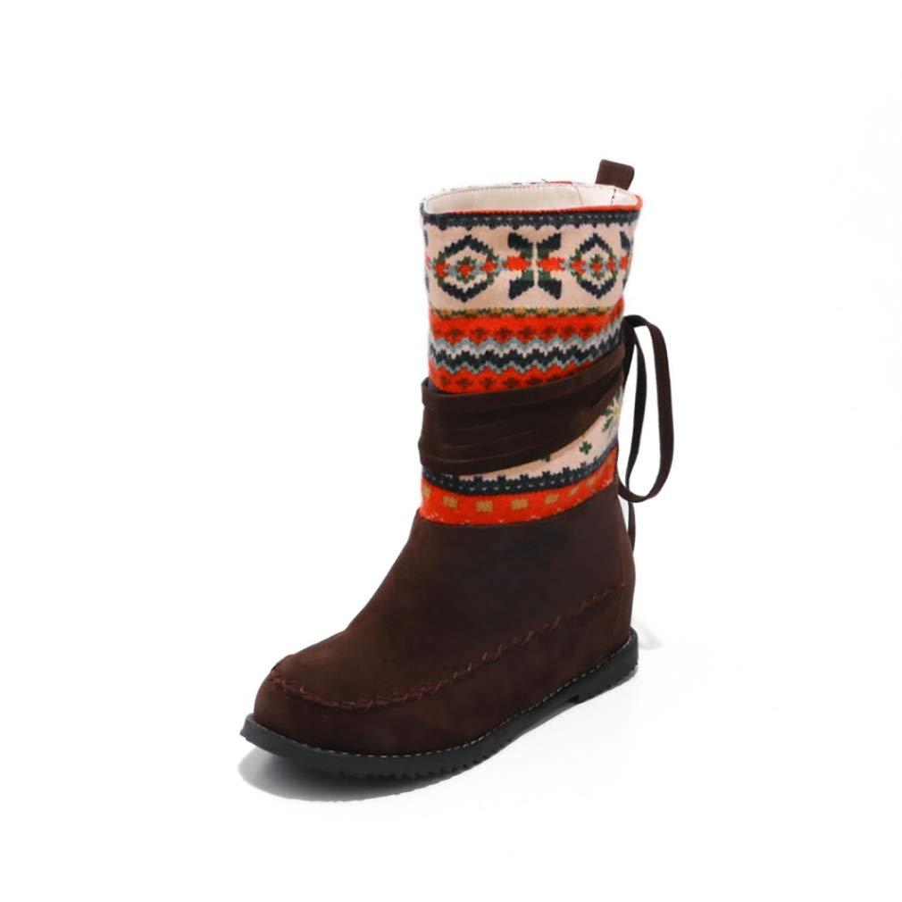 Hy Damen Stiefelies Herbst/Winter Wildleder Lässig Flache Ferse Stiefelies/Damen National Wind Large Größe Stiefel/Stiefeletten (Farbe : D, Größe : 34)