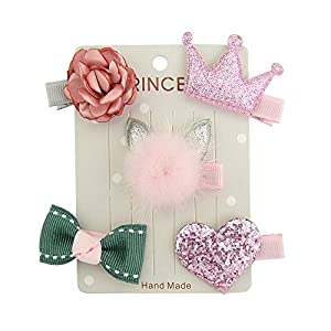 PET SHOW Gorgeous Pet Dog Hair Bow Clips Hair Bows for Baby Girls Hair Alligator Clips for Cat Pink Pack of 5