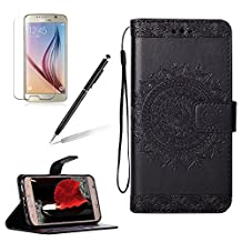 Case for Samsung Galaxy S6 Edge Wallet flip Case,Girlyard Elegant [Totem Sun Flower] Pattern Drawing Art Painted PU Leather Stand Function Flip Magnetic Wallet with Card Slot Holder Protective Cover Case for Samsung Galaxy S6 Edge-Black