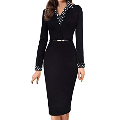 17583be0b0b Amazon.com  Sinfu Women Working Long Sleeve Sashes Office Pencil Party  Casual Dresses  Clothing