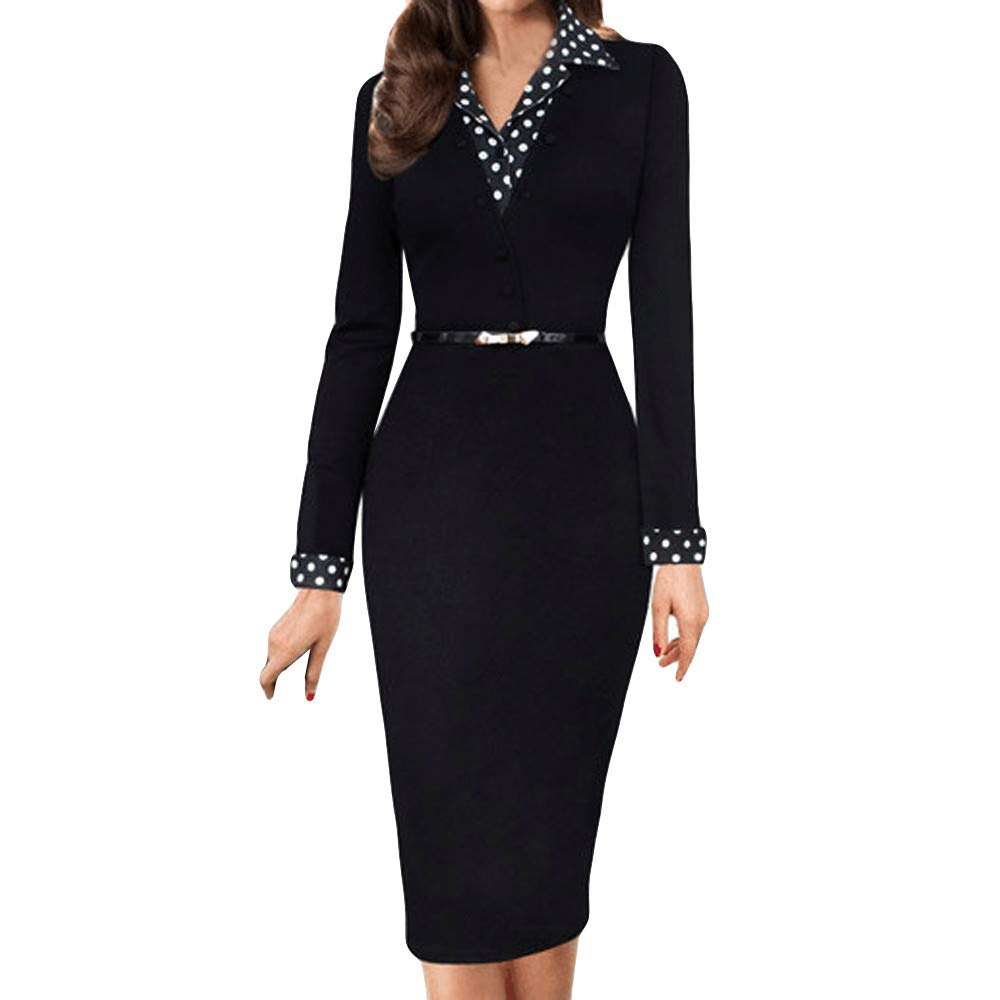 HUAMINGZHONGQING Women's Pencil Skirts Formal Dress Long Sleeve Career Bodycon Dress Office (Black, 2XL) by HUAMINGZHONGQING (Image #1)