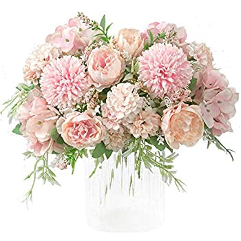 KIRIFLY Artificial Flowers, Fake Peony Silk Hydrangea Bouquet Decor Plastic Carnations Realistic Flower Arrangements Wedding Decoration Table Centerpieces 2 Packs (Light Pink)