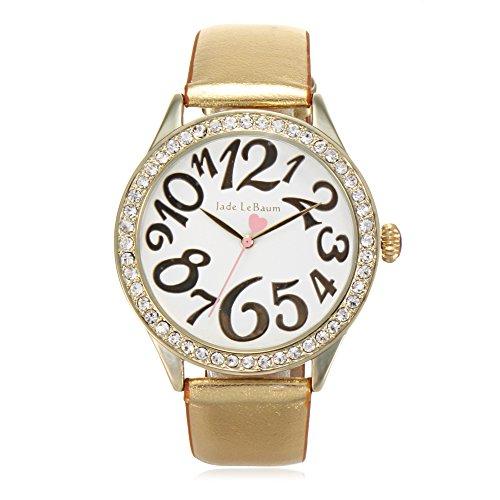 Dress Gold Tone Watch Dial (Womens Dress Watch Gold Tone Leather Strap White Dial Crystal Bezel Quartz Jade LeBaum - JB202866G)