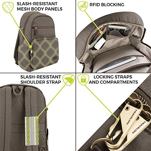 51yb5qMfEJL - Travelon Anti-Theft Courier Slim Backpack, Stone Gray, One Size
