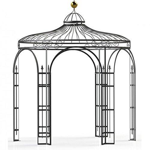 Pavillon Garten, Metallpavillon, Gartenlauben, Rosenpavillon, Pavillon Stabil Holland Ø 180 cm (Schwarz Bergolin)